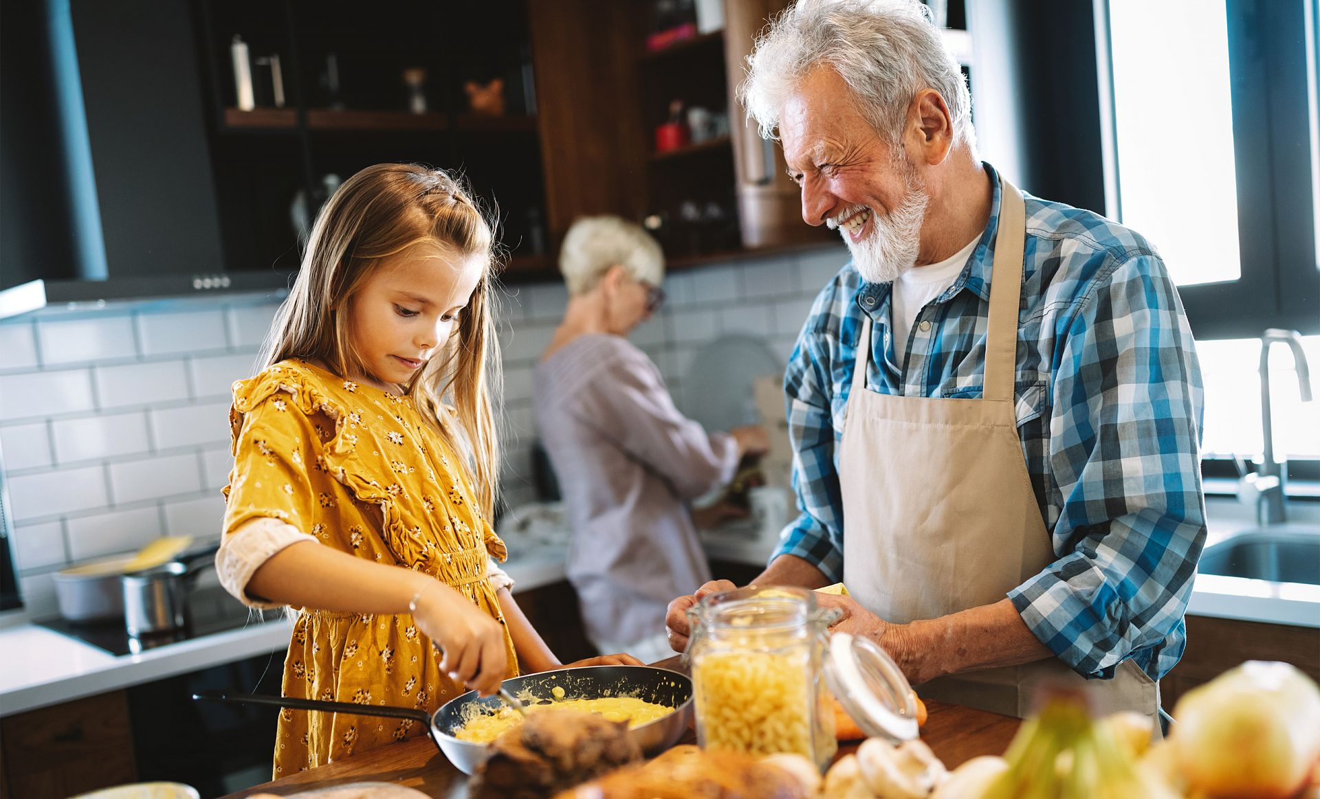 family cooking together food for gut health
